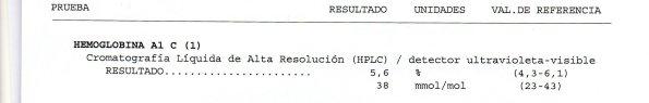 Resultados de la HbA1c o Hemoglobina glucosilada